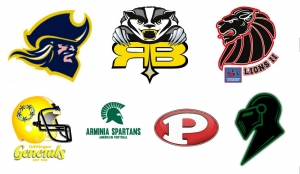 Die Teams aus der Regionalliga Nord: Fighting Pirates, Badgers, Lions II, Generals, Spartans, Pioneers und Knights (v.l.o.)
